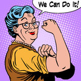 Granny old woman gesture we can do it Royalty Free Stock Photos