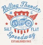Graphique de moto de vintage de tonnerre de roulement Image stock