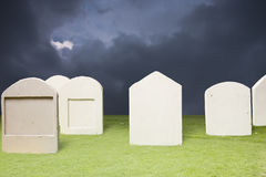Graveyard at dark night Stock Images