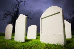 Graveyard at Halloween night Stock Photo