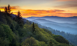 Great Smoky Mountains National Park Scenic Sunrise Landscape Royalty Free Stock Images