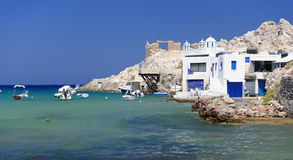 Greek homes by the sea Royalty Free Stock Image