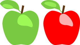 Green Apple and Red Apple Stock Photo