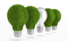 Green grass light bulb row with regular bulb Royalty Free Stock Photography