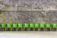 Green plastic chairs Stock Image