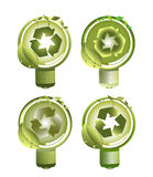 Green Recycle Light Bulbs Stock Photo