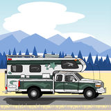 Green truck with camper Stock Images