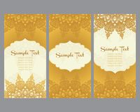 Greeting cards in east style on gold background Stock Photos