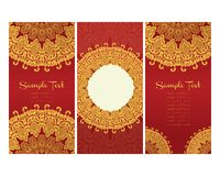 Greeting cards in east style on red background Royalty Free Stock Images