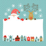 Greeting Christmas and New Year car Royalty Free Stock Image