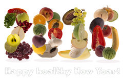 2016 greeting with fruits and vegetables on white background Royalty Free Stock Photo