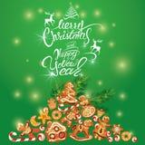 Greeting holiday Card of xmas gingerbread  Royalty Free Stock Image
