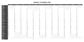 Greyscale English annual planner 2016 Royalty Free Stock Image