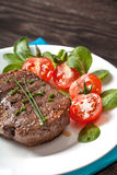 Grilled hot steak meat on plate Royalty Free Stock Photo