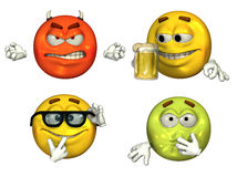 Große 3D Emoticons - Set 3 Stockbild