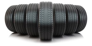 Group of automotive tires Royalty Free Stock Photos