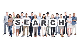 Group Of Business People Holding Placards Forming Search Stock Image