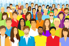 Group of Casual People Face Big Crowd Diverse Royalty Free Stock Photos