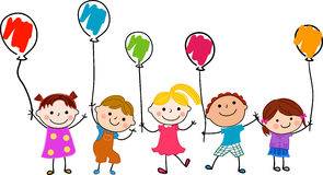 Group of children and balloon Stock Image