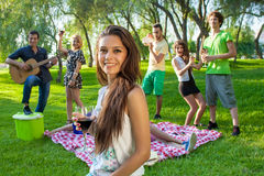 Group of friends partying in the park Royalty Free Stock Photo