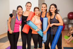 Group of girls in a yoga studio Royalty Free Stock Images