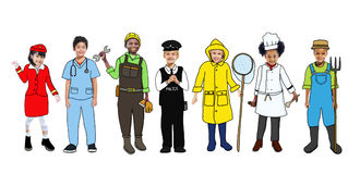 Group of Happy Children and Dream Job Concepts Royalty Free Stock Images