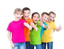 Group of happy kids with thumb up sign. Stock Images