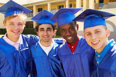 Group Of Male High School Students Celebrating Graduation Royalty Free Stock Image