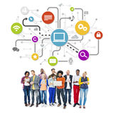 Group Of Multi-Ethnic People Social Networking And Related Symbo Stock Images
