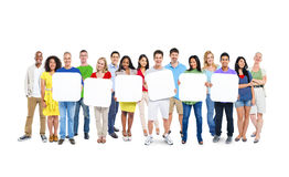 Group Of People Holding 6 Empty Placards Stock Image
