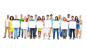 Group Of People Holding 8 Empty Placards Stock Photos