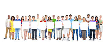 Group Of People Holding 10 Empty Placards Royalty Free Stock Photo