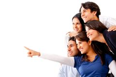 Group of people pointing away Stock Photos