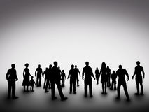 Group of various people silhouettes. Society Royalty Free Stock Photography