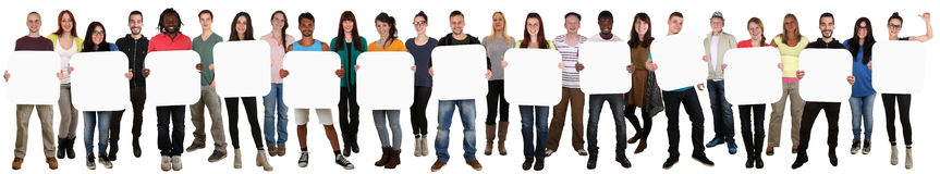 Group of young multi ethnic people holding copyspace for thirtee Stock Images