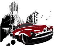 Grunge retro classic car building city Stock Photography