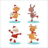 Grupo de caráteres bonitos do Natal dos desenhos animados Ilustração do vetor Fotografia de Stock Royalty Free