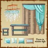 Grupo de decoração e de mobília em um estilo náutico Foto de Stock Royalty Free