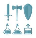 Grupo do vetor de elementos de uma cor simples para jogos do RPG Imagens de Stock