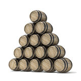 Gruppo di barilotti di vino di legno 3d rendono Fotografia Stock Libera da Diritti