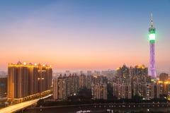 Guangzhou tower in nightfall Stock Images