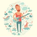 Guitariste de bande dessinée de chanteur jouant la guitare sur un fond coloré Photos stock