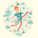Guitariste, hippie de bande dessinée jouant la guitare sur un fond coloré Images stock