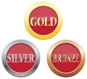 Guld- silverbronssymboler Arkivfoto