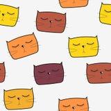 Gulliga Handdrawn Cat Seamless Pattern Vector Royaltyfria Bilder