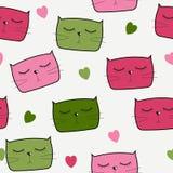 Gulliga Handdrawn Cat Seamless Pattern Vector Arkivbild