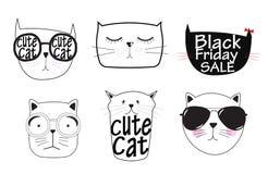 Gulliga Handdrawn Cat Set Vector Illustration Arkivbild
