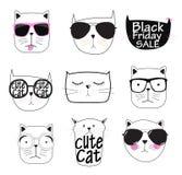 Gulliga Handdrawn Cat Set Vector Illustration Royaltyfri Fotografi