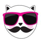Gulliga Handdrawn Cat Vector Illustration Royaltyfria Bilder