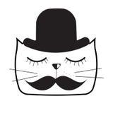 Gulliga Handdrawn Cat Vector Illustration Royaltyfri Fotografi